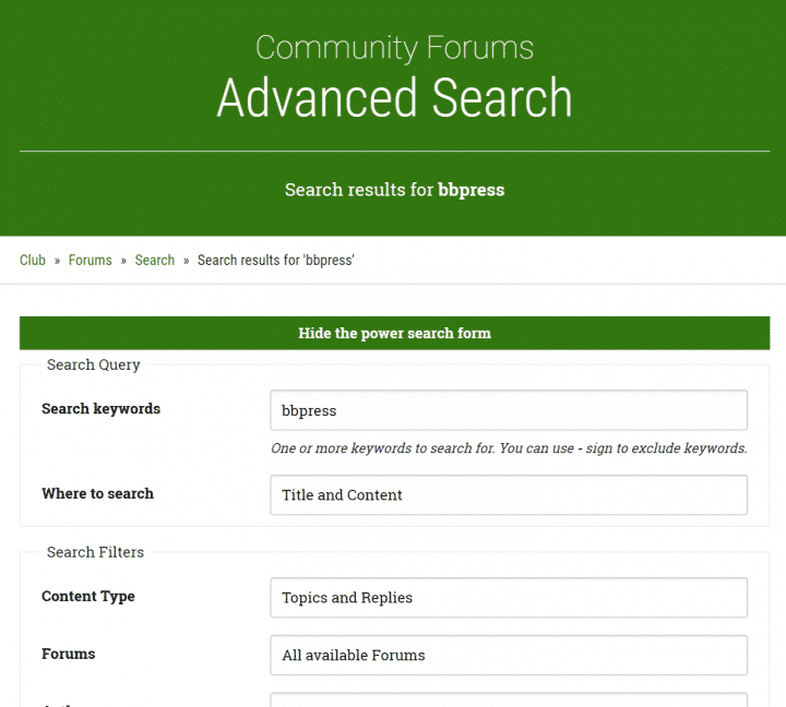 bbHelp Club Forums Search page